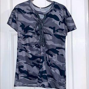 New blue army print short sleeve blouse